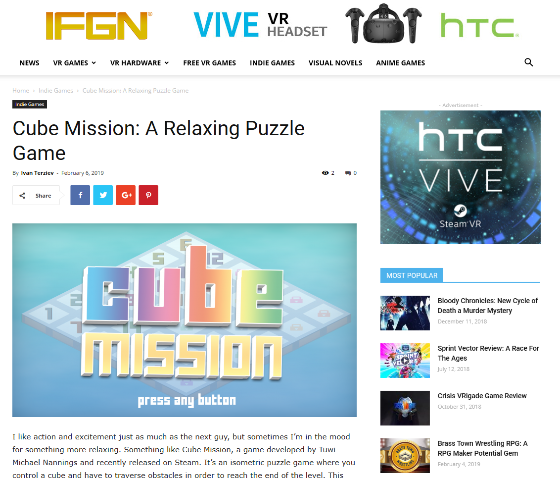 cube mission review ifgn